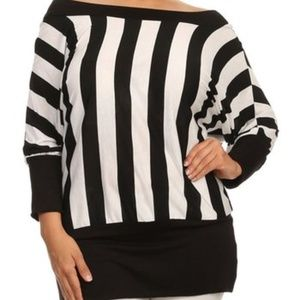 Tops - Black Stripe Off-Shoulder Dolman Top - Plus SIZE-J